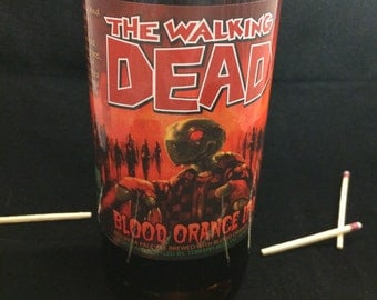 Custom Soy Upcycled Beer Bottle Container Candle-TERRAPIN BREWING The Walking Dead Blood Orange IPA