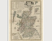 Old Scotland Map Art Print 1752 Antique Map Archival Reproduction