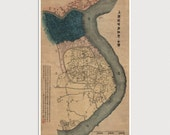 Old Shanghai Map Art Print 1884 Antique Map Archival Reproduction