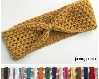 Knit Headband - Mustard Crochet Knot Headband - Mustad Knit Earwarmer - Knot Headband Pink Blue Brown Yellow Red Purple Green