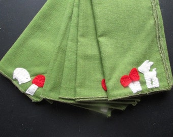 Set of Holiday Cloth Napkins Woodland Creatures Handmade Green and Red