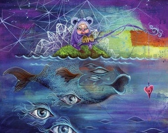Intergalactic Deep Sea Fishing - whimsical art, giclee, dream art, fine art print, spirit animal, shamanism, trippy art, art by phresha