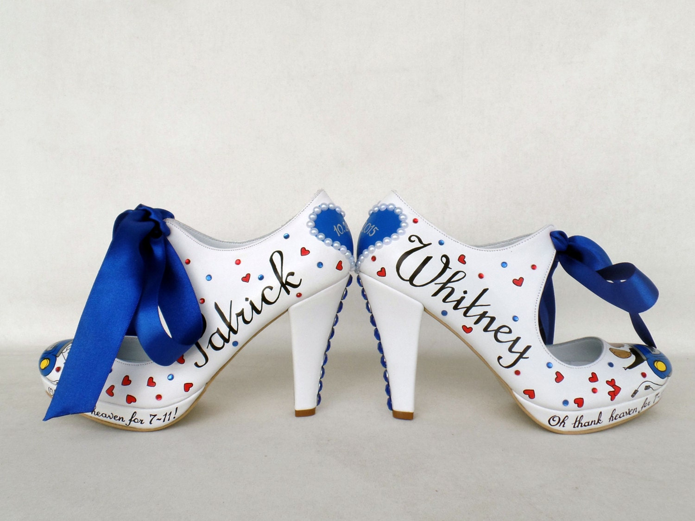 Royal Blue Wedding Heels: Wedding Shoes Royal Blue Handpainted Customized Unique