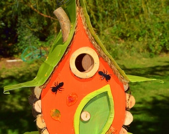 Pumpkin, Pumpkin Birdhouse, Harvest Bird House, Bird House, Birdhouse, Fall, Harvest, Bugs, Halloween Birdhouse