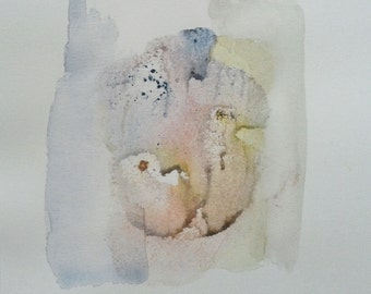 "Apparition 1 (Floral). Watercolor painting, original Soft pastel colors Minimal contemporary accent artwork 5""x 5"" Yellow Cyan Earth tones"