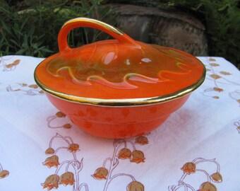 California Pottery Fall Autumn Orange Oak Leaf Covered Bowl