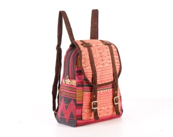 Small Oriental Tribe Backpack Ethnic Woven Hemp/Cotton Fabric Bohemian, Gypsy Hippie Style