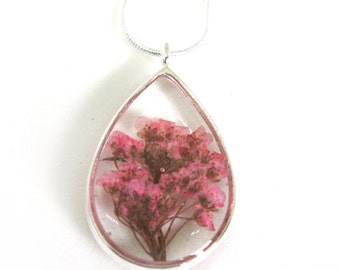 Real Pink Alyssum Necklace - Real Pressed Flowers In Resin - Pressed Flower Jewelry - Flower resin Necklace - Open Back Bezel - Teardrop