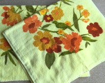 2 Vintage Bathroom Hand Towels ~ Pale Yellow Floral by Tastemaker