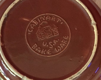 Vintage Cabinart Bake Ware USA Pie Pan, Plate, Dish ~ 2 Tone Brown Pottery