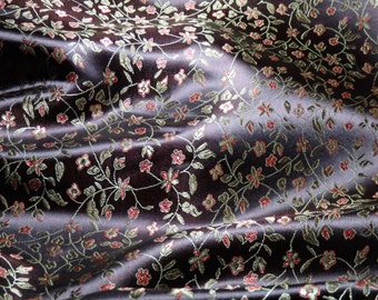 Chinese brocade fabric in dark chocolate brown with a floral pattern in red and gold - ONE yard, Chinese brocade fabric by the yard - 1 yd.