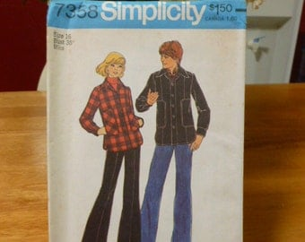 "7358 Simplicity Size 16 Bust 38"" Miss Pattern Misses Teen Boys & Men's Unlined Jacket Vintage 1976 Uncut"