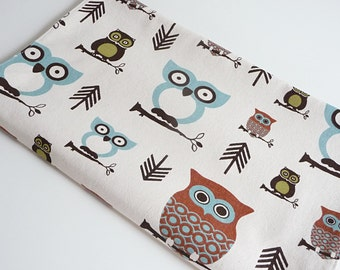 Table Runner - Modern Scandinavian Owl Pattern - Woodland Owls in Turquoise, Brown, Green on a Natural Background