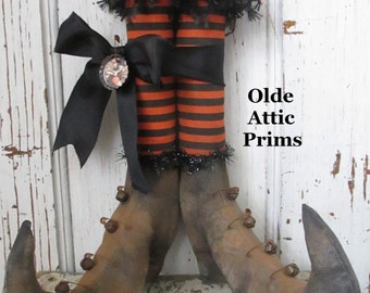 "Primitive Grungy Halloween Witch Boots~ 12"" tall w Orange and Black Stripe Fabric Stockings~ HAFAIR"