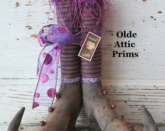 "Primitive Halloween Witch Boots~ 12"" tall w/ Grungy Purple Striped Fabric Stockings~ HAFAIR"