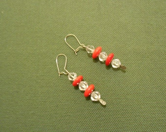 Red and Clear Glass Earrings