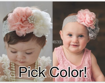Boutique Style Headband, YOU PICK COLOR- baby Headband, Newborn headband, baby hair bow, Newborn photo prop. Infant Headbands