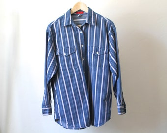 denim 90s vintage striped NAUTICAL boating blue & white STRIPES long sleeve shirt