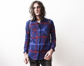 Vintage 1980s Checked Shirt Lumberjack Long Sleeve Cotton Shirt Rusty Old Blue Size Small