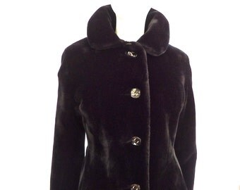 Faux Seal Fur Tailored Full Length Coat Size Small Ultra-Seal Vintage