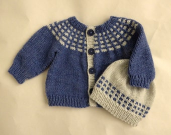 Baby sweater and hat set | blue and grey knitted baby cardigan | newborn baby boy gift | hand knit boy's cardigan and hat