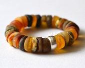 Amber and Silver Bracelet Baltic Amber Bracelet Organic Handmade Natural Bracelet Nature Inspired