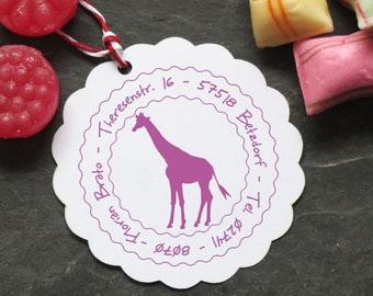 Stamp giraffe, Africa, round with your name