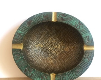 Vintage Brass Zodiac Ashtray