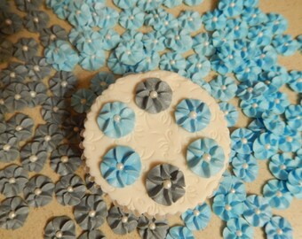 100 Blue and Grey Royal Icing Drop Flowers Edible for cupcakes,cakes, cakepops,cookies