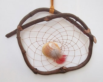 GRAPEVINE DREAM CATCHER Shell and Macaw Feather Shell Dream Catcher