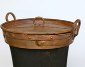 Large traditional Italian copper pan with lid