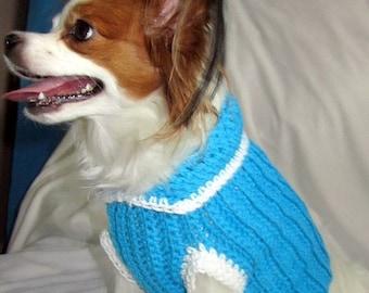Medium Dog Sweater - Turquoise White