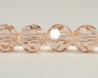 """8mm Round Crystal Beads, Peach-Pink Crystal Beads, Chinese Crystal Beads, Faceted Round Beads for Jewelry on a 9 3/4"""" Strand with 33 Beads"""