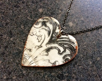 RUSTIC HEART - Valentine Heart Metal Pendant, Embossed Pendant, Organic Jewelry, Repurposed Jewelry, Heart Pendant, Big Heart