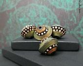 Ebony Metallic Peridot Polymer Bicone Bead Set - Matte Finish Moroccan Style Boho Gypsy Hippie Bicone Bead Set - 13mm - Pkg. 4