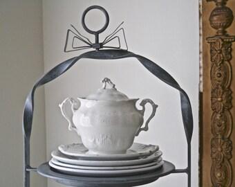 Vintage White Semi-Porcelain, Johnson Bros. Sugar Bowl with Lid, England