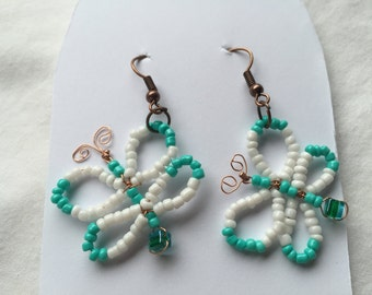 HC White and Turquoise Seed Bead Butterfly Earrings