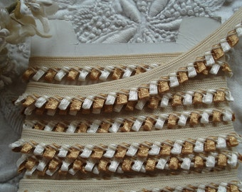 1y Vintage French Gold Soft White Rococo Bow Satin Loop Piping Lip Braid Trim Ribbon Crazy Quilt Flapper Embellishment France