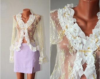 Vintage Lace Blouse, size S-M /36-38/
