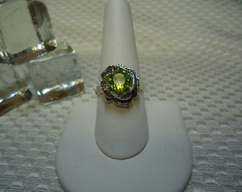 Round Cut Peridot Rose Form Ring in Sterling Silver   #1591