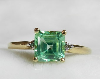 Engagement Ring Art Deco Ring Genuine Green Spinel Ring Antique Spinel Diamond Unusual Unique Engagement Ring Cushion Cut Spinel Ring Gatsby