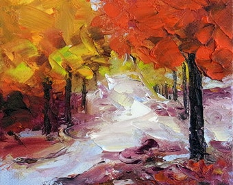 """Small Abstract Landscape Autumn Fall Tree Original Oil Painting Palette Knife Textured Impasto 6x6"""""""