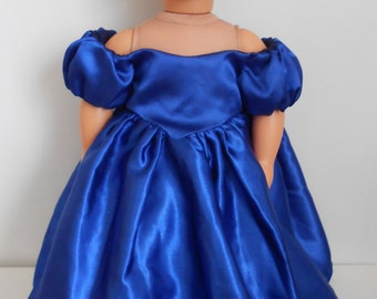 Royal Blue Satin Ball Gown American Girl and 18 inch Dolls