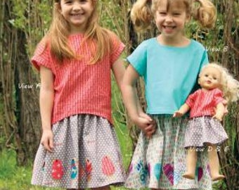 Olive Ann Designs-Sadie Skirts and Tops Children's Sizes 3-10 with Matching Doll Outfit OAD 99