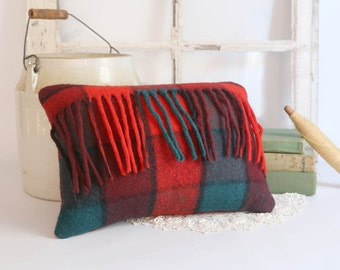 Vintage Wool Pillow, Red Plaid Throw Pillow, Rustic Cabin Decor, Red Wool Plaid Pillow 10x13