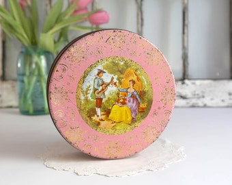 Vintage Pink Cookie Tin, Shabby Chic Cookie Tin, Baroque Style Cookie Tin, Country Cottage Decor