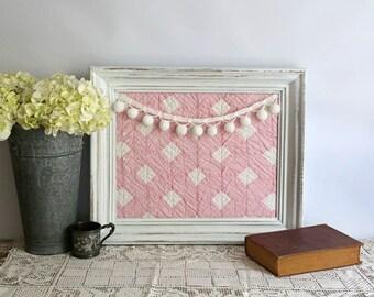 Framed Vintage Cutter Quilt - Pink and White Quilt in Frame Girls Room Nursery Decor Vintage Pink and White Framed Quilt Piece, Cottage Chic