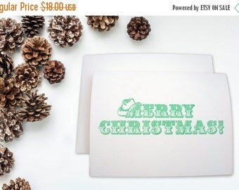 LETTERPRESS SALE 50% OFF Letterpress card set , set of 6 , Western Merry Christmas Cowboy Hat Christmas Cowboy Christmas Green