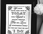 8 x 10 Print  Loved Ones/ Remembrance / In Loving Memory - Wedding Sign - Single Sheet (Style: YOUR SPIRIT)