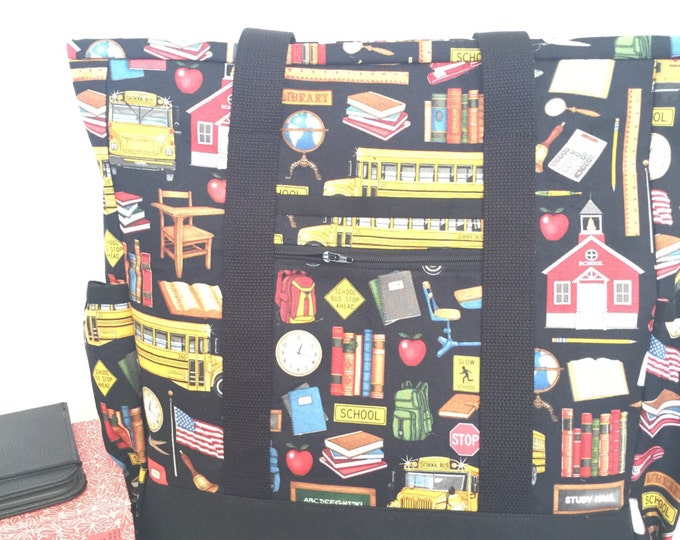 Back to School Teacher Tote, Teacher Bag, Work Tote, Large tote with pockets, Orange and Grey Kitchen Sink Tote, Professional Tote